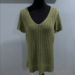 LOFT army green chunky sweater top sz XL